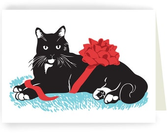 Tuxedo Cat with Ribbon - Boxed Set of 8 Cards