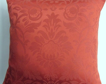 Red Orange Throw Pillow -- Burnt Sienna Tomato Damask Cushion Cover -- 16 x 16