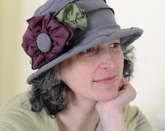 Ladies Spring Hat - Edwardian Travel Hat -  Organic Cotton and Hemp Jersey -Grey -Traveling Mabel, Short Brim