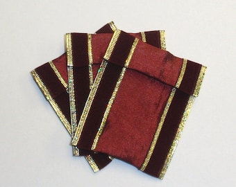 Jewelry Bead Pouches - 10 red velvet gold - ribbon