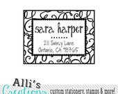 SELF INKING Return Address Stamp with Fun Swirl Border and Cute Fonts