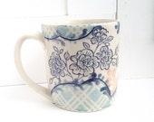 Blue French Plaid Mug
