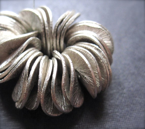 10mm Solid Sterling Silver Brushed Petal Spacers - 28 pieces