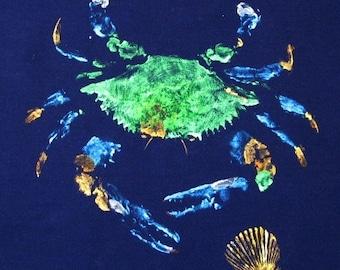 Large Blue Crab Art with shell Nature rubbing original GYOTAKU on rich Navy Cloth ready to hang Delaware Chesapeake Bay