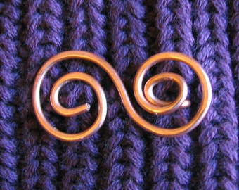 Spiral shawl clip, copper wire sweater pin, swirl scarf bar
