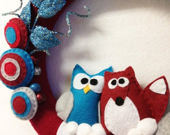 Wreath, Christmas Wreath, Unusual Friends, Fox and Owl, Teal and Brick Red, Hostess Gift, Gifts under 75