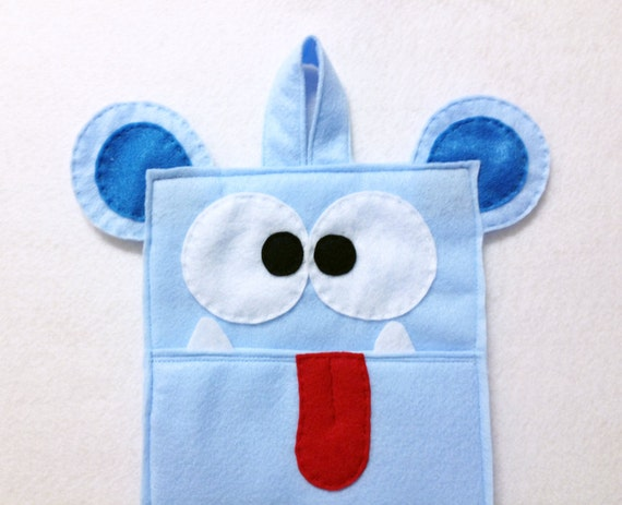 Monster Stocking, Christmas Stocking, Felt Stocking - Walter the Light Blue Monster, Gifts for Kids, Gifts under 50