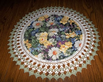 Crocheted White Daisys and Spring Flowers Floral Fabric Center Crocheted Edge Handmade 20 Inches