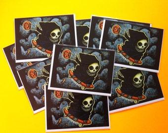 Skateboarding Grim Reaper Halloween Greeting Card Set by Mister Reusch