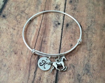 Horse charm bracelet - horse jewelry, gift for horse lover, equestrian jewelry, horse riding jewelry, horse bangle, silver horse bangle