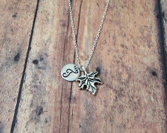 Maple leaf initial necklace - maple leaf jewelry, Canada jewelry, maple leaf necklace, Canada necklace, silver maple leaf necklace