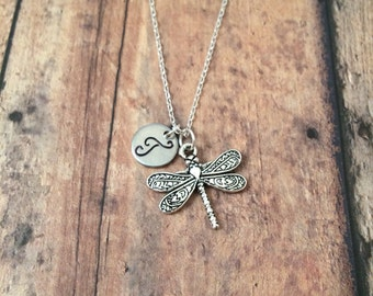 Dragonfly initial necklace - dragonfly necklace, silver dragonfly jewelry, insect jewelry, insect necklace, damselfly necklace, bug charm