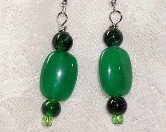 Green Jade and Glass Dangle Earrings, Silver Wires, Green Jade OOAK Jewelry, Ladies Earrings