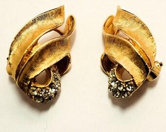 Vintage BSK Golden Rhinestone Earrings, Clip Style Ladies Earrings, Rhinestone and Gold Jewelry