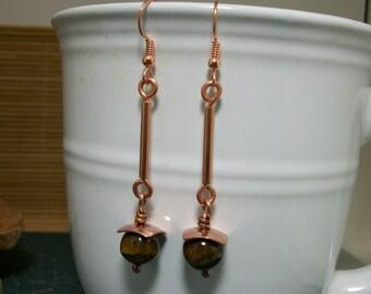 Long dangle copper metalwork and tiger's eye bead earrings- copper jewelry- copper earrings- stone jewelry- stone earrings- CLEARANCE