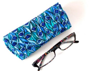 Eyeglass Case - Sunglass Case - Jewel Tone - Blue and Green - Magnetic - Gifts for Women - Easter Gifts