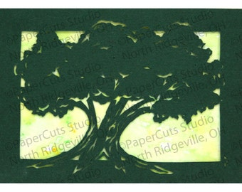 Summer Tree Papercut ACEO, Handcut Original, Watercolor
