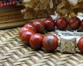 Red Jasper Sterling Silver Modern Beaded Bracelet, Chunky Luxe Stretch Bracelet, Unisex Under 175