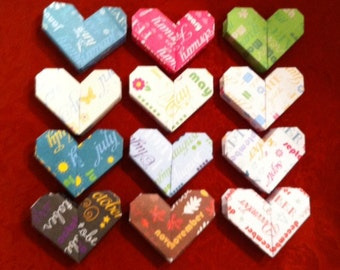 12 Months a Year - 3D Origami Heart Boxes with Secret Compartment