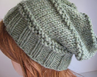 Slouchy Knit Hat,  Knit Chunky Hat, Slouchy Hat - Willow