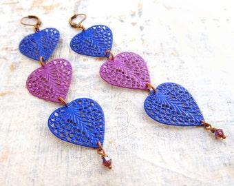 Long earrings purple blue heart earrings Boho bohemian earrings colorful jewelry