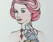 Tattoo girl with eagle key heart original small watercolor painting