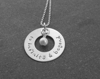 I Love You To Infinity And Beyond Necklace Sterling Silver Freshwater Pearl Anniversary Gift Ready to ship