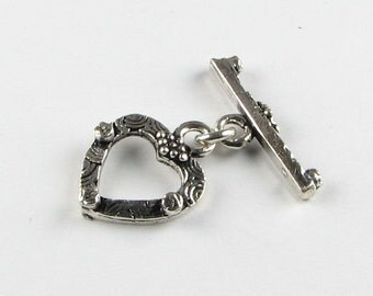 Antiqued  Heart Bali .925 Sterling Silver Toggle Clasp (1 set)
