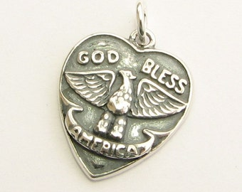 God Bless America Sterling Silver .925 Heart Charm Pendant with Open Jump Ring (1 piece)