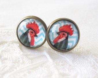 Blue Chevron Rooster Antique Brass Post Earrings