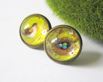 Bird and Nest Chartreuse Mismatched Antique Brass Post Earrings