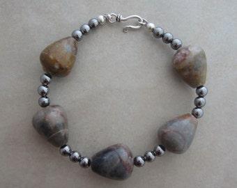 marble gunmetal sterling silver bracelet