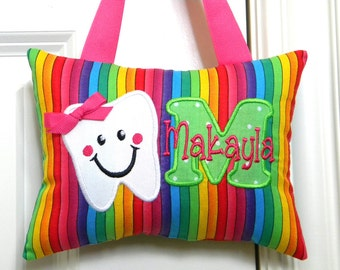 Girls Personalized Tooth Fairy Pillow Rainbow Stripes