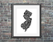New Jersey typography map art print 11x14 customizable personalized state poster custom wall decor engagement wedding housewarming gift