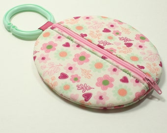 Paci Pod Pink Soft Pastel Flowers Binky Pouch Pacifier Case