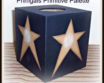 Tissue Box Cover Primitive Black Gold Star Paper Mache