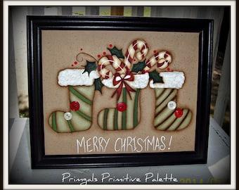 Primitive Framed 8 x 10 Christmas Stocking Canvas Home Decor Decoration