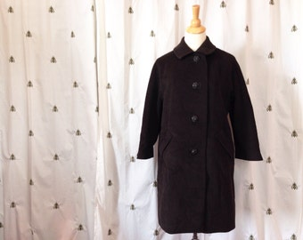 ON SALE Vintage Chocolate Brown Wool Coat, Cashmere Blend, Women, Rhinestone Buttons, Jovella Imperial, Worumbo, Size Medium, Large