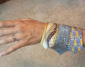 Hand Crafted Wrist Cuffs, with Upcycled Men's Ties, BurningMan/Steampunk Style, Xanadu Designs