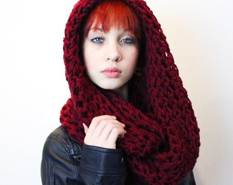 The Favorite Cowlneck scarf Chunky hood Wrap vegan cranberry ruby red