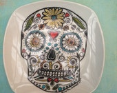 Porcelain Hand Painted sugar skull plate in black, yellow, turquoise, green and red for Birthday Special Occasion Wedding or Engagement Gift