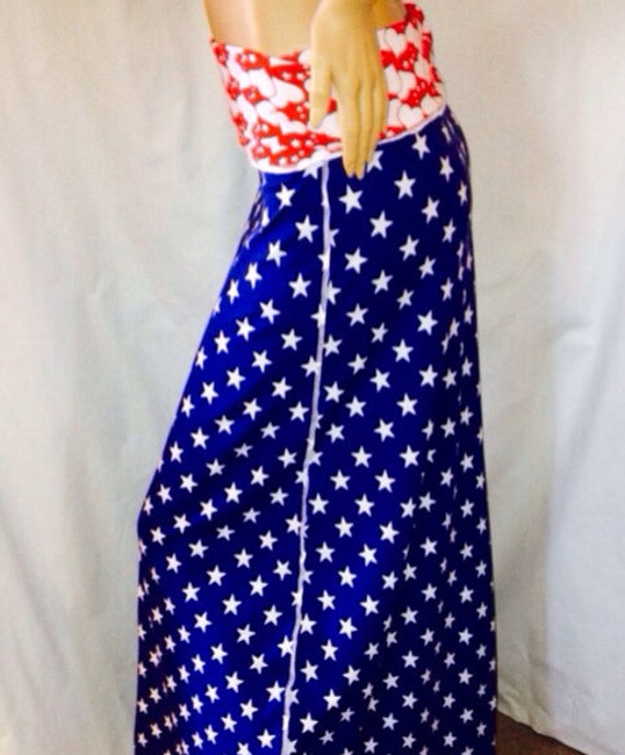 Red White and Blue Maxi Skirt Maxi Dress Cotton Jersey July