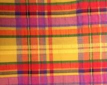 Vintage Yellow Purple Red Bright Cotton Plisse Fabric - 1 1/2 Yards -  Fabric Yardage / Vintage Yardage / Cotton Fabric / Plisse Fabric