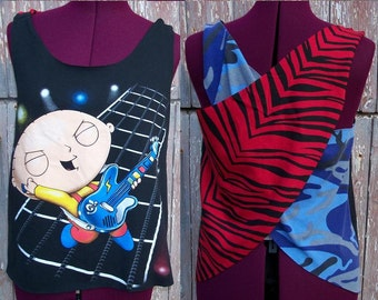Size XS Rock N Roll Stewie Upcycled Tank Top DIY