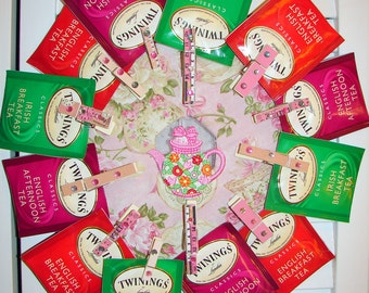 Northcot Fabric@ Pink Rose Tea Bag Wreath