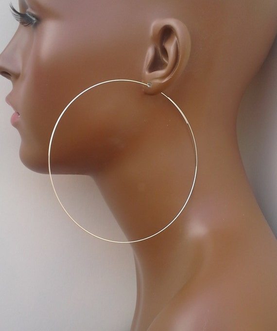 Silver hoop earrings 4 inch silver plated basketball wives thin open threader dangle 564