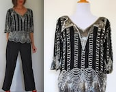 Vintage 80s Black and Silver Beaded Blouse (size small, medium)