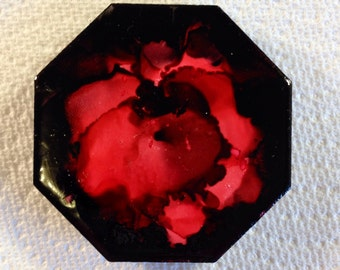 Red and Black Flower Abstract Octagon Magnet