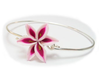 Stargazer Lily Sterling Silver Bracelet - Stargazer Lily Jewelry Collection