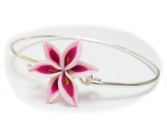 Pink Stargazer Lily Bracelet - Lily Flower Bracelet, Pink Flower Bracelet, Pink Lily Silver Bracelet, Lily Jewelry, Pink Lily Gift